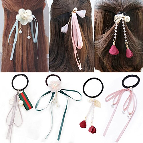 Amazon.com   Korean sweet hair long ribbon bow ribbon hair rope lead rope  hair ring hair tie rubber band hair bands female headdress for women girl  lady   ... 90be3c6ea7e