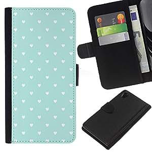 KLONGSHOP // Tirón de la caja Cartera de cuero con ranuras para tarjetas - Patrón de los corazones del trullo Papel pintado rústico Amor - Sony Xperia Z2 D6502 //