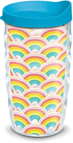 Tervis 1317324 Rainbow Pattern Insulated Tumbler with Wrap and Lid, 10 oz Wavy - Tritan, Clear