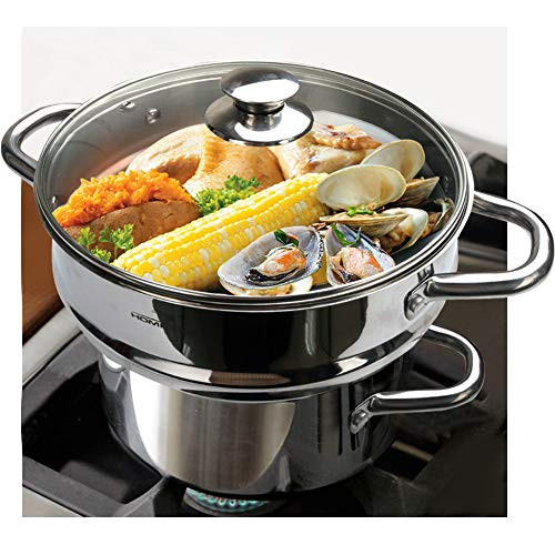 HOMICHEF 3 PCS Whole Food Steamer Set - Nickel Free Stainless Steel Veggie Steamer Pot (9.5 Large Vegetable Steamer Insert With Lid, 8 Steam Pot) - Induction Steamer Pots - Steam Pots Steam Baskets
