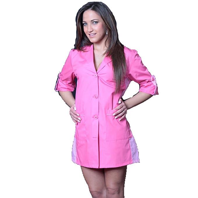 Camice casacca mujer trabajo limpieza maestra supermercado escuela de asilo Fucsia L: Amazon.es: Hogar