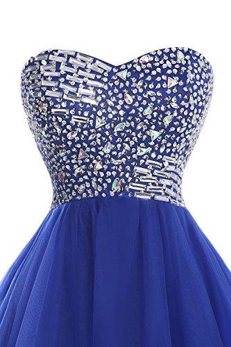 Tulle Courtes Robes De Bal Bleu Royal Longueur Genou Perles Bess Femmes De Mariée