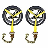 US Cargo Control (2 Pack) - Side Mount Wheel Net with Ratchet and Chain Extension