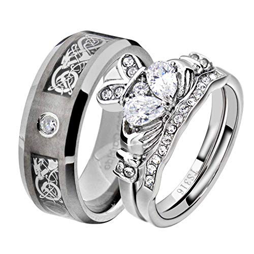 (His and Hers Wedding Ring Sets Couple Ring Bridal Sets Women Stainless Steel Irish Claddagh CZ Men Tungsten Carbide CZ Solitaire Celtic Dragon Scroll Wedding Engagement Ring Band Set QD)