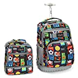 Tilami Rolling Backpack 18 inch with Lunch Bag Wheeled Laptop Backpack Waterproof School College Student Travel Trip Boys and Girls, Sport Balls
