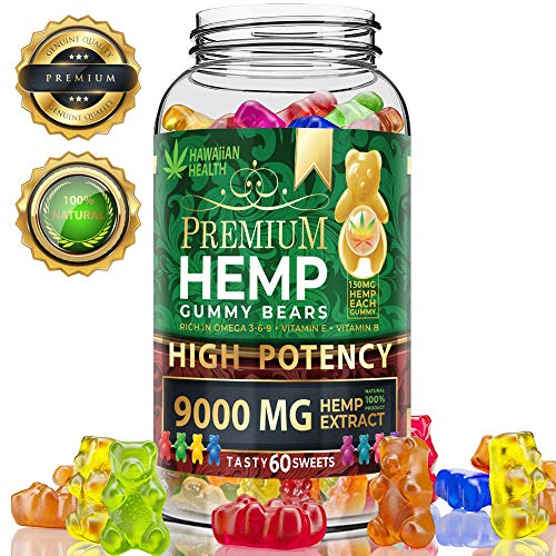 Natural Hemp Gummies 9000MG - 150MG Per Fruity Gummy Bear with Full Spectrum Hemp Extract | Natural Candy Supplements for Pain, Anxiety, Stress & Inflammation Relief | Promotes Sleep & Calm Mood