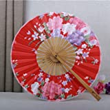 Fresh sweet Japanese-style Cherry blossoms classical fan Chinese style Cloth fabric Round Folding Female palace Circular fan Dance fan bamboo Red