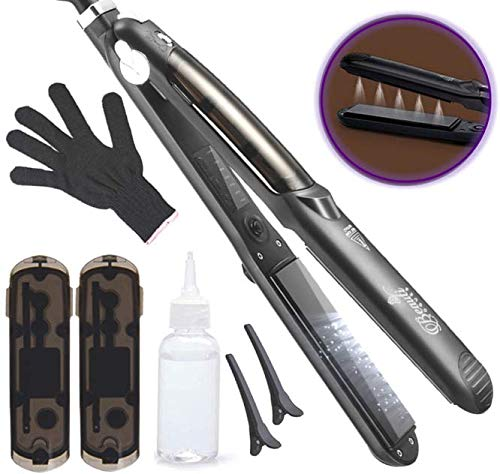 Professional Steam Hair Straightener for steam & infusion treatment Salon quality 2in1 Ceramic Tourmaline flat iron styler Straighteners 4 Dry & Wet hair 360° Swivel Cord 450ºF (Best Hair Straightening Method)