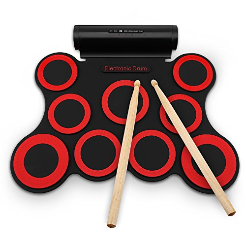 AODD Electronic Drum Set, Foldable Portable Kids Roll Up Drum Practice Pad Drum Kit with Headphone Jack Built-in Speaker Stereo sound Drum Pedals Drum Sticks, Best Gift for Christmas Holiday Birthday