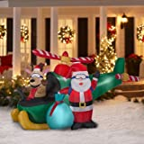 Animated Airblown Santa and Reindeer in Helicopter Scene Inflatable