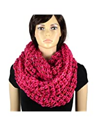 AOLOSHOW Winter Reversible Knit Infinity Circle Scarfs, Various Styles & Colors