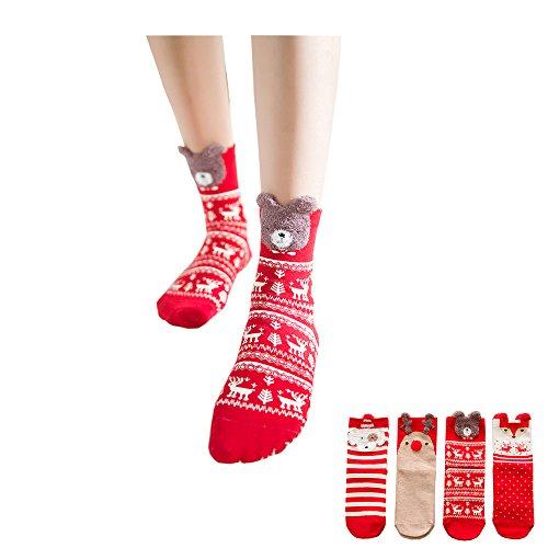 4 Pairs Womens Cute Animal Socks Colorful Funny Casual Cotton Crew Socks Girls Socks