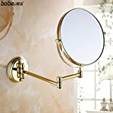 Antique copper full beauty mirror/Bathroom mirror/European-style wall-mounted telescopic magnifying mirror-C