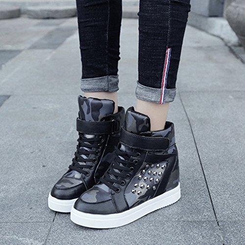 Sneakers Hidden Shoes Womens Toe Sneaker Round Rivets Heel Wedges Fashion Black2 GIY Top High Up Lace Platform IxURZ