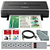 Canon PIXMA iP110 Wireless Mobile Inkjet Printer w/with Airprint(TM) and Cloud Compatible and Accessory Bundle with 6-Outlet Strip + USB Cable + Fibertique Cloth