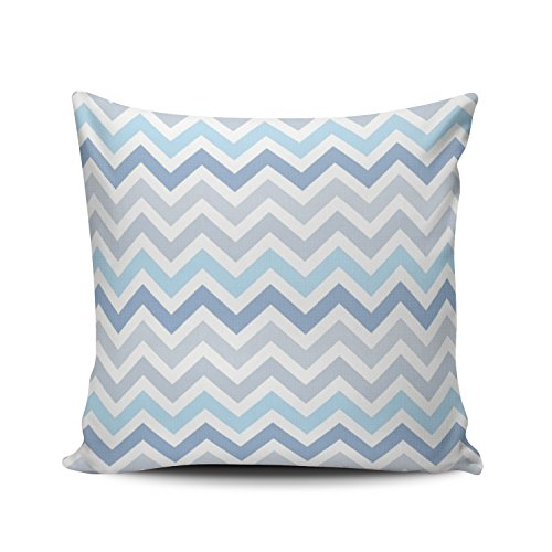 - Kangza Gray and White Light Blue Ombre Chevron Striped Decorative Throw Pillowcase Cushion Cover Square Zippered Pillow Case for Home Sofa 18 x 18 Inch One Side