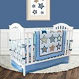 The Lucky Baby Blue Twinkle Star Stripe 4 Piece Boy Crib Bedding Sets for Boys Bumper Quilt Sheet Crib Skirt Set 100% Cotton Sheet Skirt
