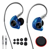 In Ear Headphones, LZHE Hi-Fi Monitor Earbuds with Noise Isolating, Mic and Remote, Flex Memory Wire Earhooks Earphones for Sports Running Jogging Gym Exercise Workout iPhone Samsung - Blue