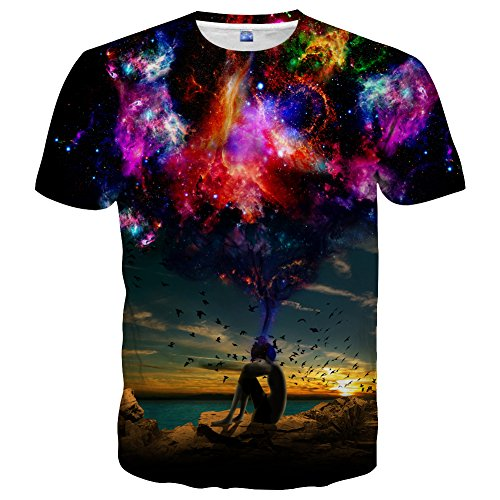 Used, Hgvoetty Unisex 3D Galaxy Print Graphic Tees for Men for sale  Delivered anywhere in USA