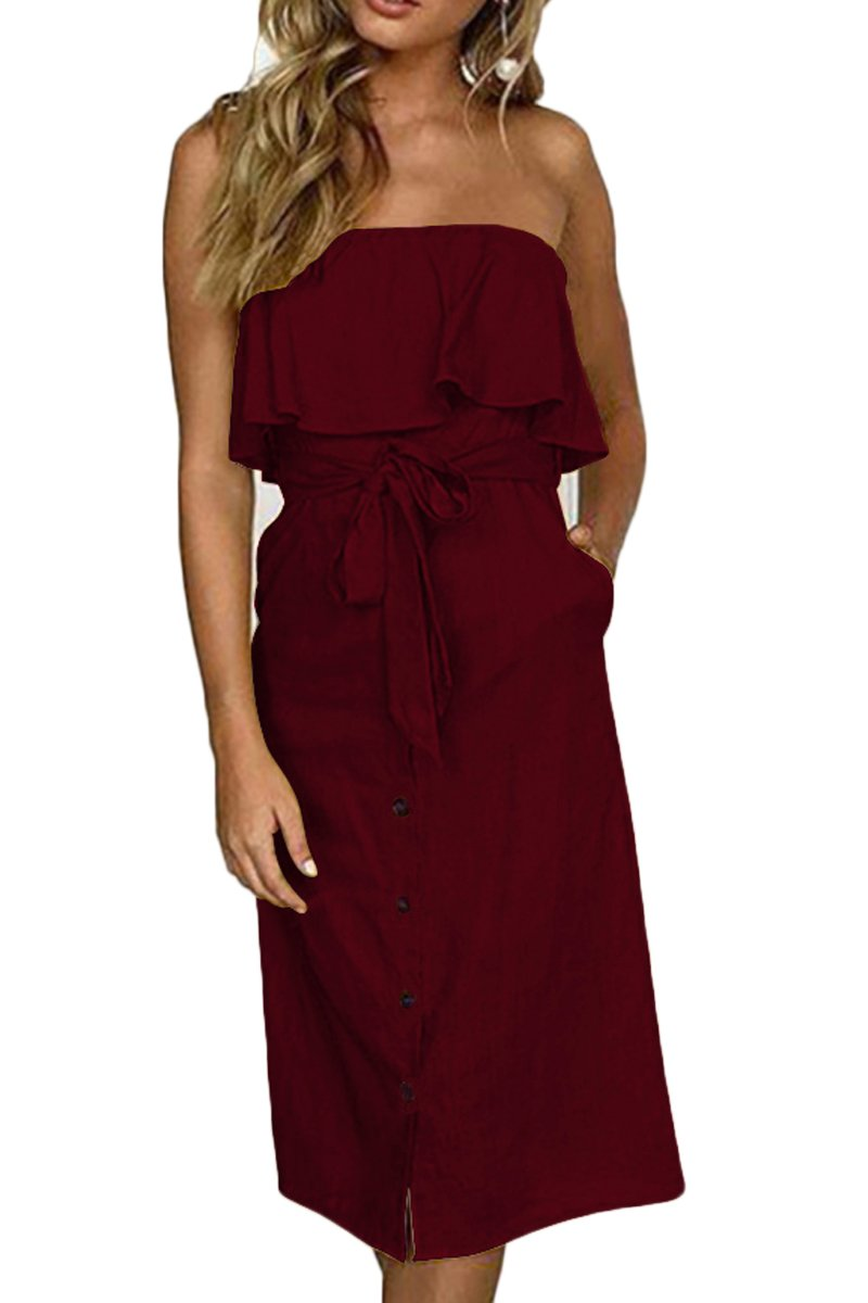 ioiom Women Button Down Sundress Casual Straight Dress Strapless Ruffle Button Down High Waist Party Midi Dress Black Wine S