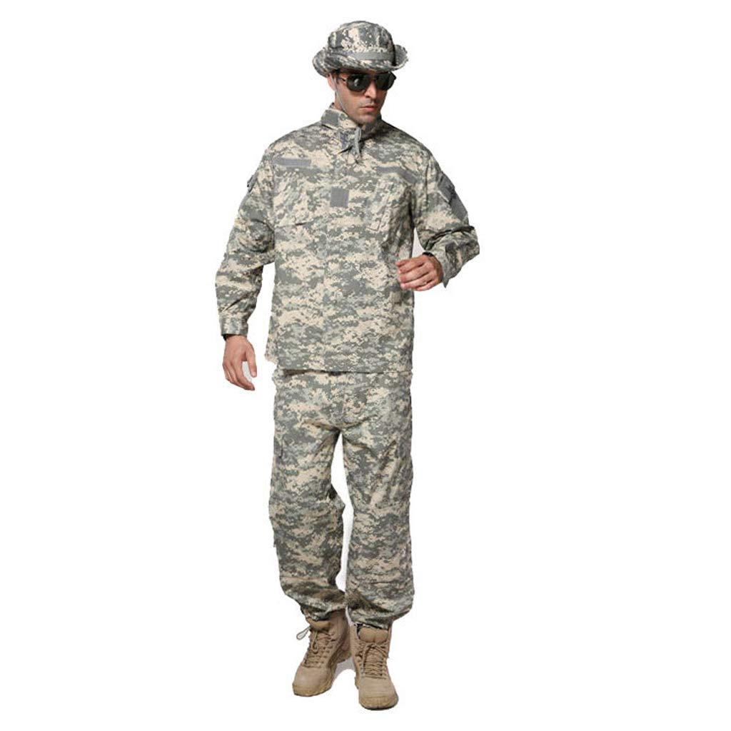 GRZP ACU Camouflage Taktischer Anzug, Herren Outdoor Military Camouflage 2 Stück Anzugjacke Jacke dünne Hose für Dschungel versteckt Jagd Sport Klettern Reiten Trainingsanzug (größe : S/170-175/65kg)