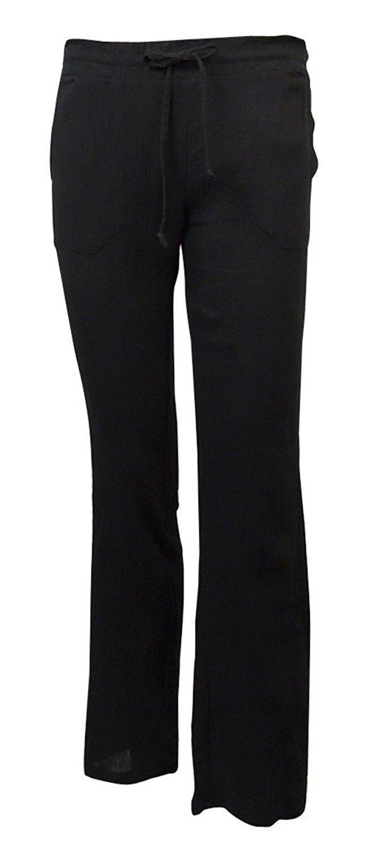 Miken Women's Crinkled Cotton Pocket Swim Cover Pants (M, Black Cavier)
