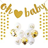 Baby Shower Decorations Oh Baby Glitter Strung Banner, 9PC Balloon Set, Glitter Unisex Pregnancy Announcement Gender Reveal Party Neutral Baby Shower (Gold Oh ♡ Baby)