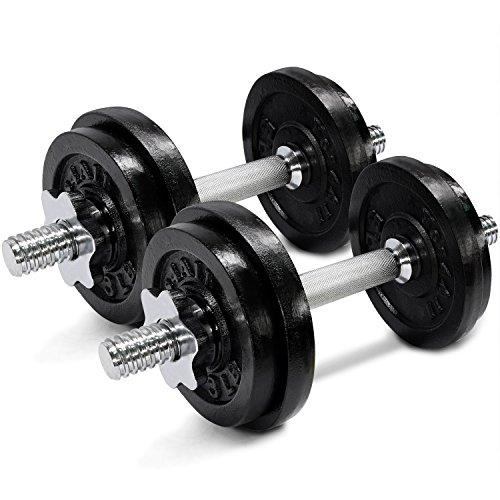 Yes4All Cast Iron Adjustable Dumbbell Set – 40lb Dumbbell Weight for Muscle Toning, Strength Building, and Weight Loss (Sold in PAIRS)