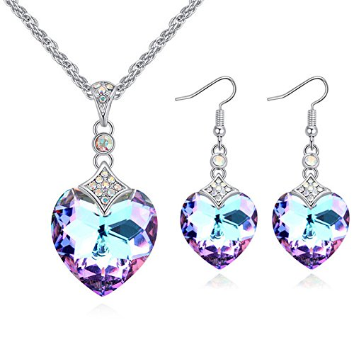 FEDNON Heart Pendant Necklaces Heart Drop Dangel Earrings with Purple Australia Crystal Jewelry Sets for -