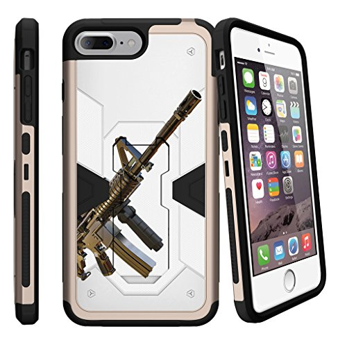 MINITURTLE Case Compatible with Apple iPhone 7 Plus/iPhone 8 Plus [MAX DEFENSE][Gold Plastic] Rugged Holster Dual Layer Case - Assault Gun (Body Assault Full)