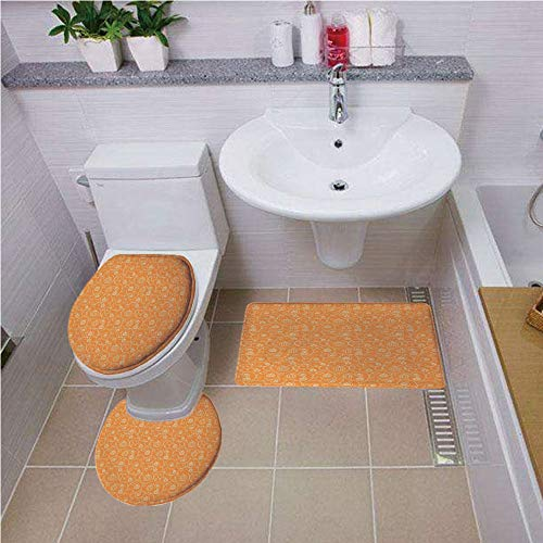 Bath mat set Round-Shaped Toilet Mat Area Rug Toilet Lid Covers 3PCS,Harvest,Pattern with Pumpkin Leaves and Swirls on Orange Backdrop Halloween Inspired,Orange White ,Bath mat set Round-Shaped Toilet -