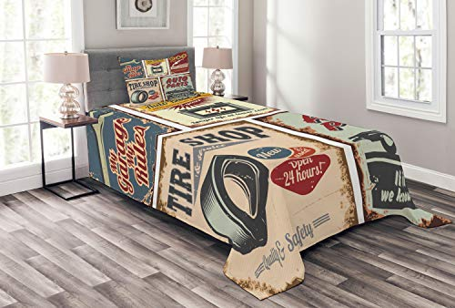 Lunarable 1950s Bedspread, Vintage Car Signs Automobile Advertising Repair Vehicle Garage Classics Servicing, Decorative Quilted 2 Piece Coverlet Set with Pillow Sham, Twin Size, Burgundy
