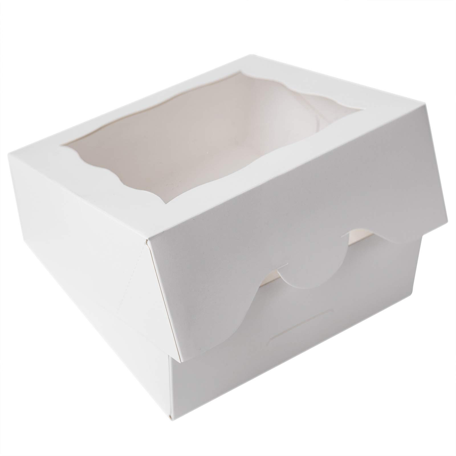 ONE MORE 6''White Bakery Boxes with pvc Window for Pie and Cookies Boxes Small Natural Craft Paper Box 6x6x2.5inch,12 of Pack by ONE MORE (Image #8)