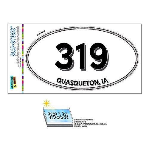 Graphics and More Area Code Euro Oval Window Bumper Laminated Sticker 319 Iowa IA Oran - Welton - Quasqueton