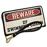 Wallet Clutch Beware Of Swimming Coach Vintage Funny Sign with Removable Wristlet Strap Neonblond