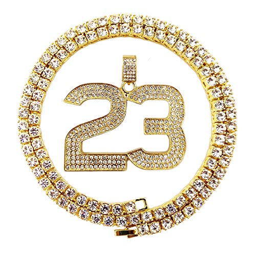 HH Bling Empire Mens Iced Out Hip Hop 14K Gold Artificial Diamond NBA Basketball Related Pendant cz Tennis Chain Necklace 22 Inch (NO.23-1)