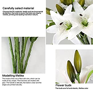 RERXN Artificial Tiger Lily Flowers Latex Flowers Home Wedding Party Decor,Pack of 5 4