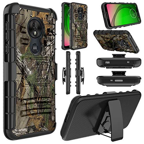 Elegant Choise T-Mobile Revvlry Case, Moto G7 Play Case, Moto G7 Optimo Case, Hybrid Shockproof Heavy Duty Full Body Protective Rugged Holster Case with Kickstand and Swivel Belt Clip (Camouflage) (Camo Motorola Phone Case)