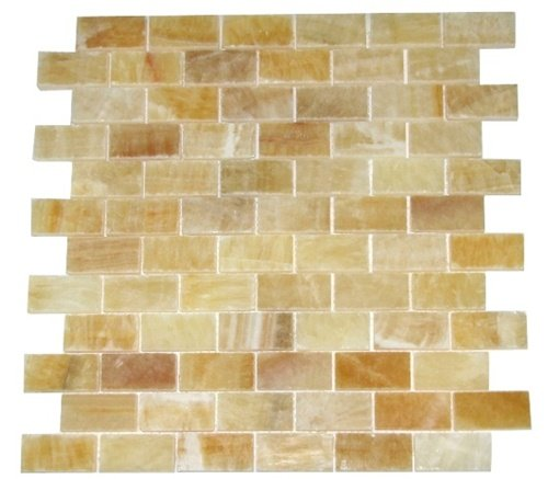 Honey Onyx 1x2 Brick Pattern Polished Mosaics Meshed on 12