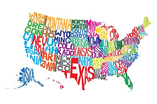 United States of America Word Map Art Print Poster 24x36 inc