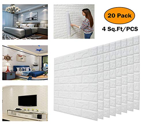 DeElf 20 PCS 3d Brick Wallpaper Peel and Stick Panels, White Brick Textured Effect Wall Decor Adhensive Wall Paper for Bathroom, Kitchen, Living Room Home Decoration 90 Square Feet Coverage