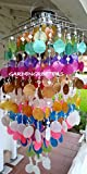 SOLAR CAPIZ SHELL WINDCHIMES/CHANDELIER MIXED COLORS CAPIZ CHIMES WITH SOLAR LIGHT