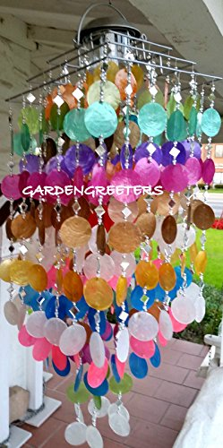 SOLAR CAPIZ SHELL WINDCHIMES/CHANDELIER MIXED COLORS CAPIZ CHIMES WITH SOLAR LIGHT by Gardengreeters