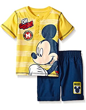 Boys' 2 Piece Mickey Mouse Henley Top and Twill Short Set