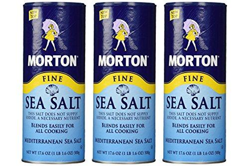 Morton Fine Mediterranean Sea Salt 17.6 oz, 3 Pack (Total ()