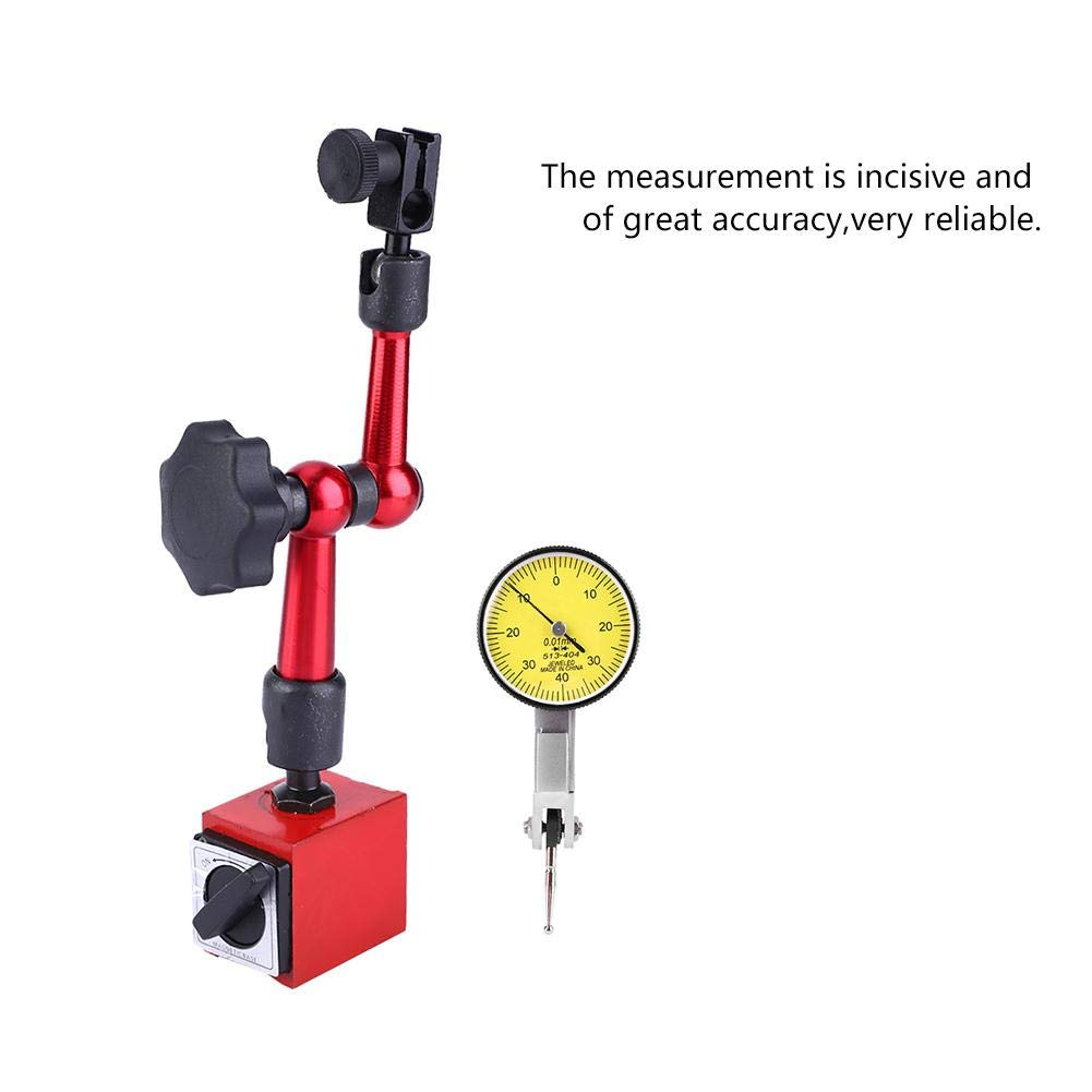 Dial Test Indicator High Accuracy 0~0.8mm Dial Test Indicator Set with Magnetic Base High Stability Packed in Blow Mould Case for Processing Layout Inspection