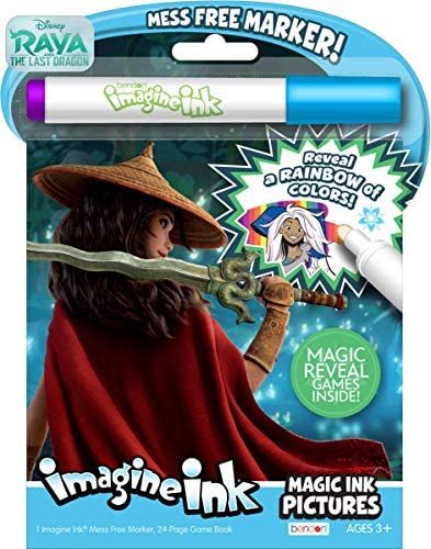 Disney Raya The Last Dragon 24-Page Imagine Ink with 1 Mess Free Marker Bendon 48607