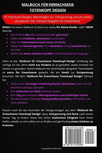 Malbuch für Erwachsene Totenkopf Design: 55 Totenkopf Designs ...