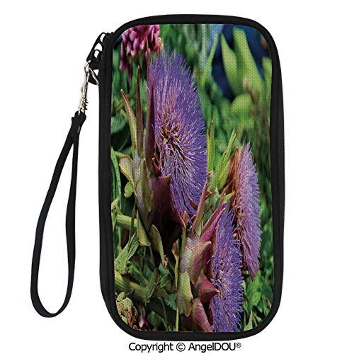 (PUTIEN Polyester Durable Hand holding bag Mediterranean Flora Photo with a Violet Blooming Super Food Harvest Print Decorative for shopping men women.)