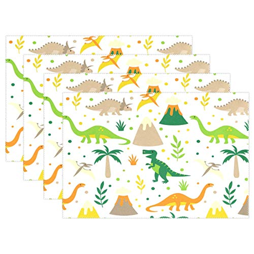 Rectangular Teak Table Set Dining (Promini Heat-Resistant Placemats, Wild Dinosaurs Pattern Washable Polyester Table Mats Non Slip Washable Placemats for Kitchen Dining Room Set of 4)
